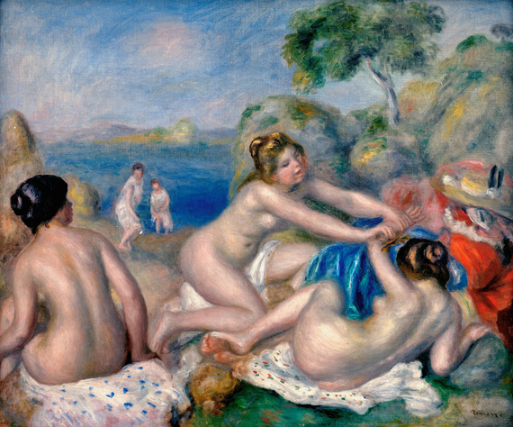 "Renoir, Auguste 1841-1919. ""Trois baigneuses au crabe"" (Three female bathers with a crab), c.1897. Oil on canvas, 45 x 65cm."